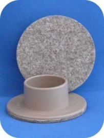 40mm Single Wheel Felt Glide - Beige SET OF 4